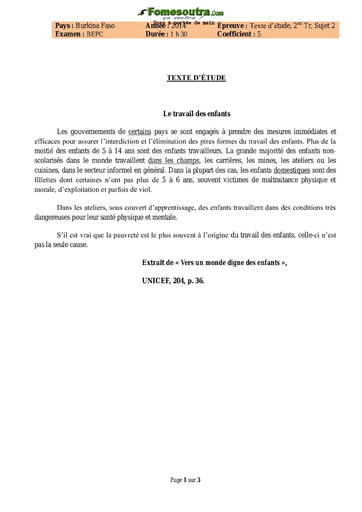 Sujet d'Etude de texte BEPC 2014 - Burkina Faso