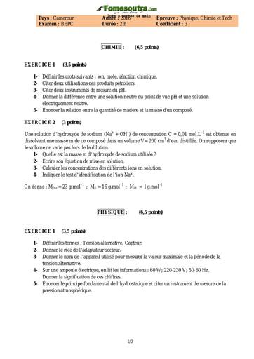 Sujet de Physique Chimie et Technique BEPC 2016 - Cameroun