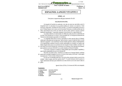 Sujet d'Espagnol Langue Vivante 2 BAC A2 2017