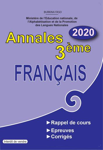 Annales de français niveau 3ème