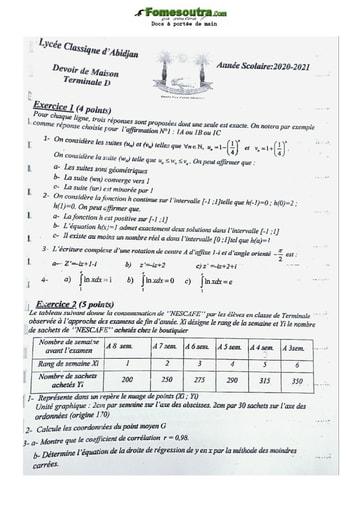 Collection de sujet de  Mathématique 2021 Lycée Classique