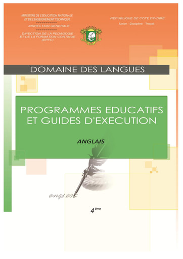 Programmes éducatifs et guides d'exécution Anglais 4eme