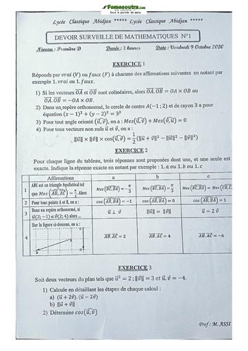 Sujet de Mathématique Première D 2020-2021