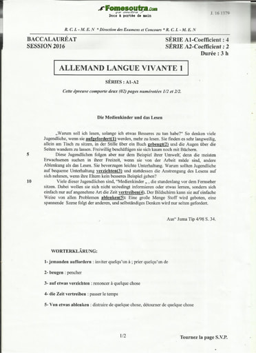 Sujet d'Allemand BAC A1 et A2 2016
