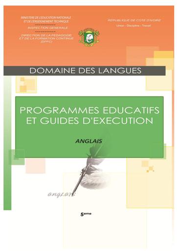 Programmes éducatifs et guides d'exécution Anglais 5eme
