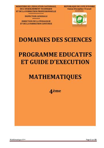 Programmes éducatifs et guides d'exécution Mathématiques 4eme