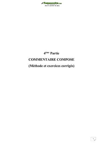 Commentaire composé - Méthode et exercices corrigés