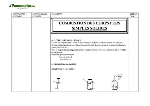 Combustion des corps purs simples solides - Chimie 3eme