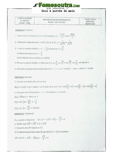 Devoir de Mathématique Terminale D 2020-2021