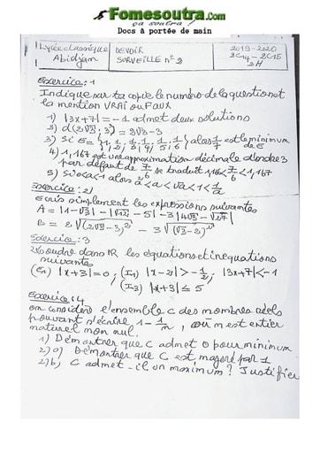 Devoir de Mathématique Seconde C 2020 2021