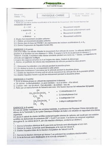 Collection de Physique-Chimie Lycée Classique Abidjan 2021