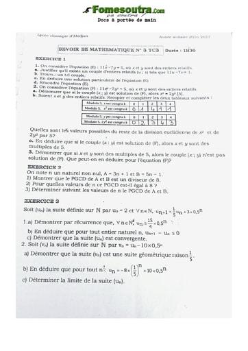 Devoir Mathématique Terminale C Lycée Classique Abidjan 2020