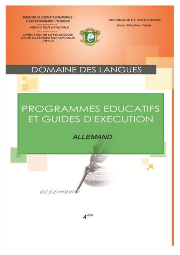 Programmes éducatifs et guides d'exécution Allemand 4eme
