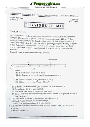 Collection de Sujet de Physique-Chimie 2020 Lycée Classique Abidjan