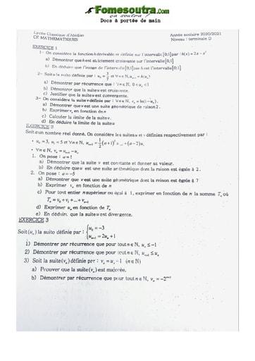 Sujet de Mathématiques Terminale D Lycée Classique