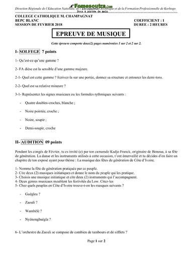 Sujet Musique BEPC blanc 2017 - Collège Catholique Champagnat Korhogo