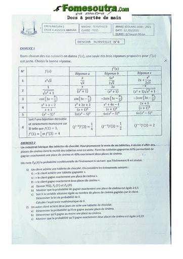 Sujet Terminale D math 20-21