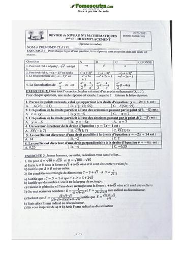 Devoir de Maths 2ndeC lycée classique 2021