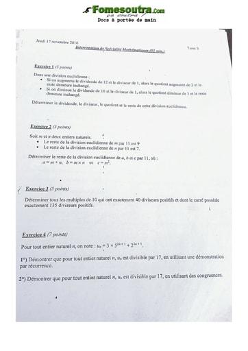 Sujet de Mathématique Terminale S 2016