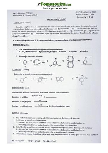 Sujet de Physique-Chimie Première C 2020-2021