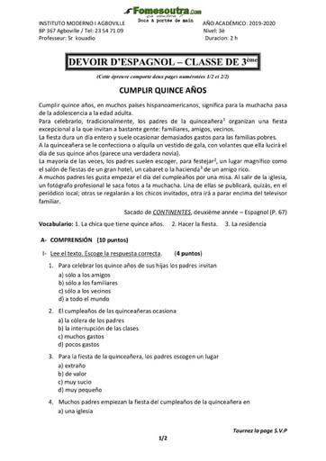 Devoir et corrrigé d'Espagnol niveau 3eme - Collège Moderne I Agboville