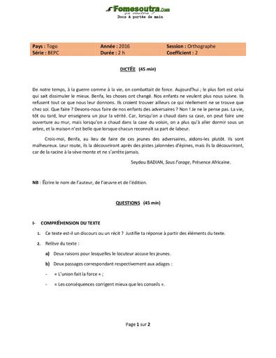 Sujet d'orthographe (dictée-question) BEPC - Togo