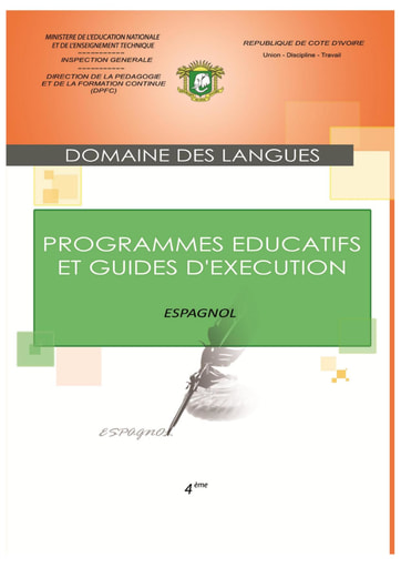 Programmes éducatifs et guides d'exécution Espagnol 4eme