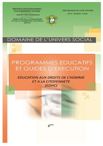 Programmes éducatifs et guides d'exécution EDHC 4eme