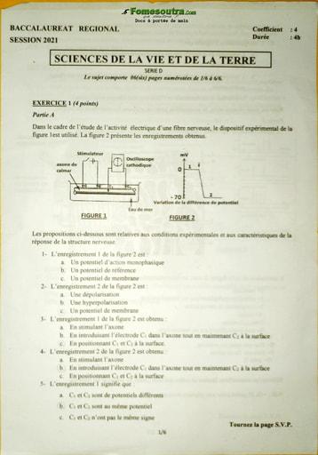 Sujet de SVT Bac blanc série D 2021 - DREN Abidjan 4