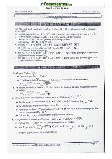 Sujet de Mathématique  Terminale C 2020-2021