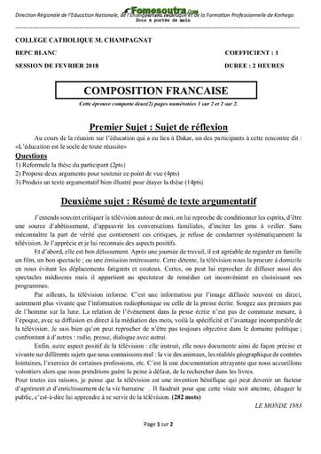 Sujet de Composition Française BEPC blanc 2018 - Collège Catholique M. Champagnat Korhogo