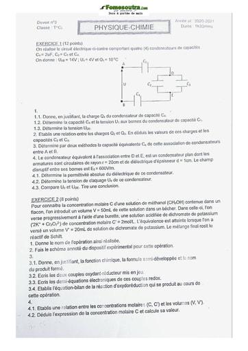 Sujet de Physique-Chimie Terminale C 2021
