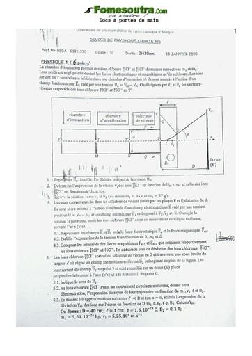 Sujet de Physique-Chimie Terminale C Lycée Classique Abidjan 2020
