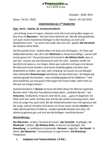 Devoir d'Allemand (Text : Anne – Sophie, 22, Automechanikerin) - Tle A1 et Tle A2