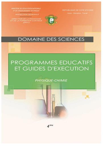 Programmes éducatifs et guides d'exécution SVT 4eme