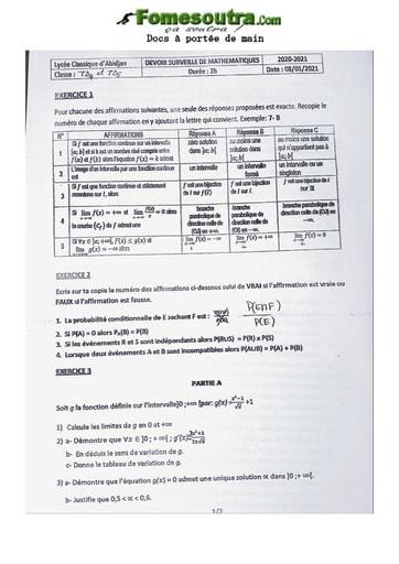 Devoir de Mathématiques Terminale D 2020-2021