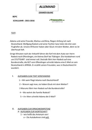Sujet d'allemand BEPC blanc 2016 - Cours du soir Educ-Coprim