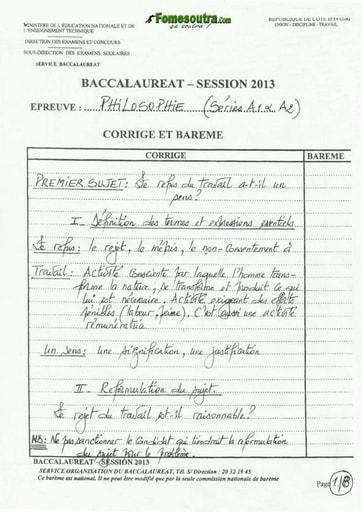 Corrigé de Philosophie BAC A1 A2 2013