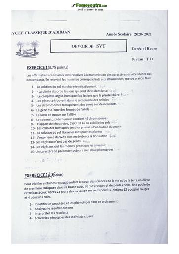 Devoir SVT Terminale D lycée classique 2020-2021
