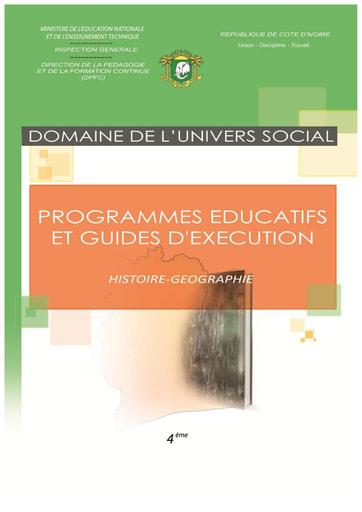 Programmes éducatifs et guides d'exécution Histoire-Géographie 4eme