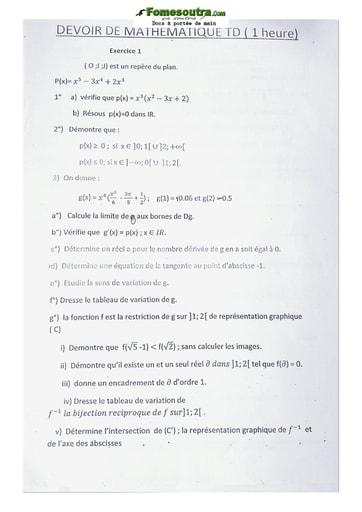 Devoir Mathématique Terminale D 2020-2021 Lycée Classique Abidjan