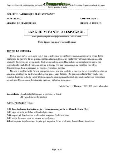 Sujet d' espagnol BEPC blanc 2018 - Collège Catholique M. Champagnat Korhogo