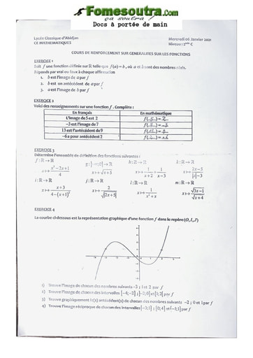 Cours de renforcement Mathématique Seconde C