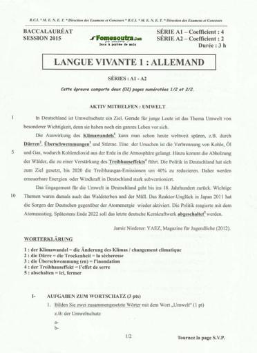 Sujet corrigé et barème d'Allemand BAC A1 et A2 2015
