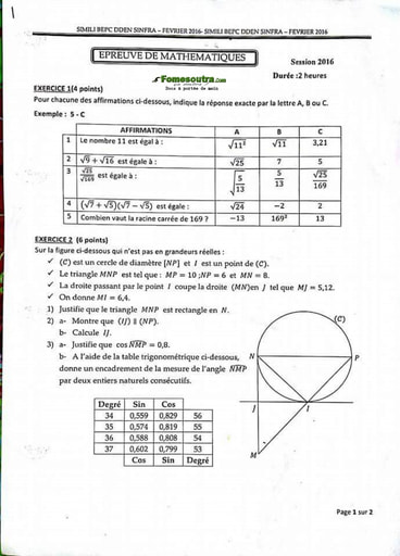 Sujet Maths BEPC blanc 2016 - Sinfra