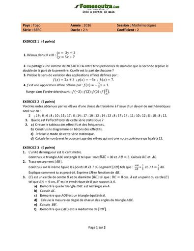 Sujet de Mathématiques BEPC 2016 - Togo