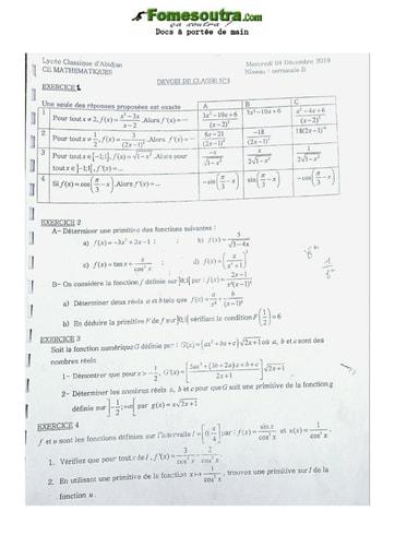Collection de Sujets de Mathématiques Lycée Classique 2019