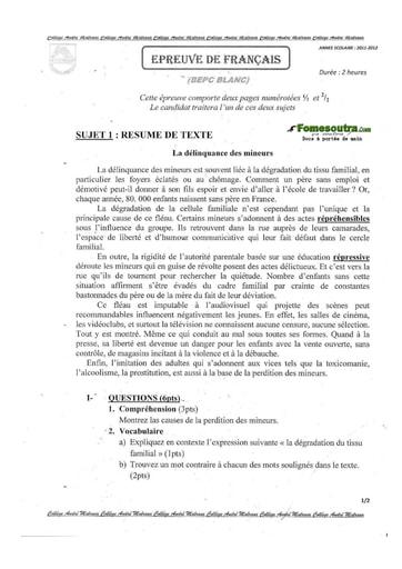 Sujet de Français BEPC blanc 2012 Collège André Malraux