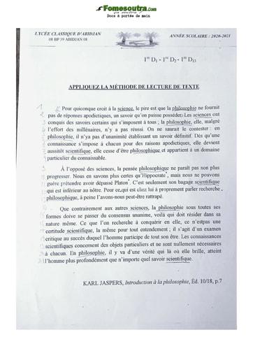 Sujet Français 1ere D classique