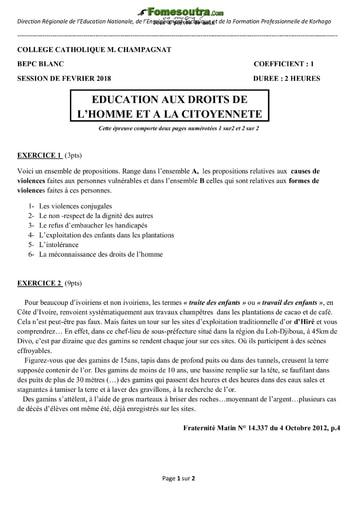 Sujet d'EDHC BEPC blanc 2018 - Collège Catholique M. Champagnat Korhogo